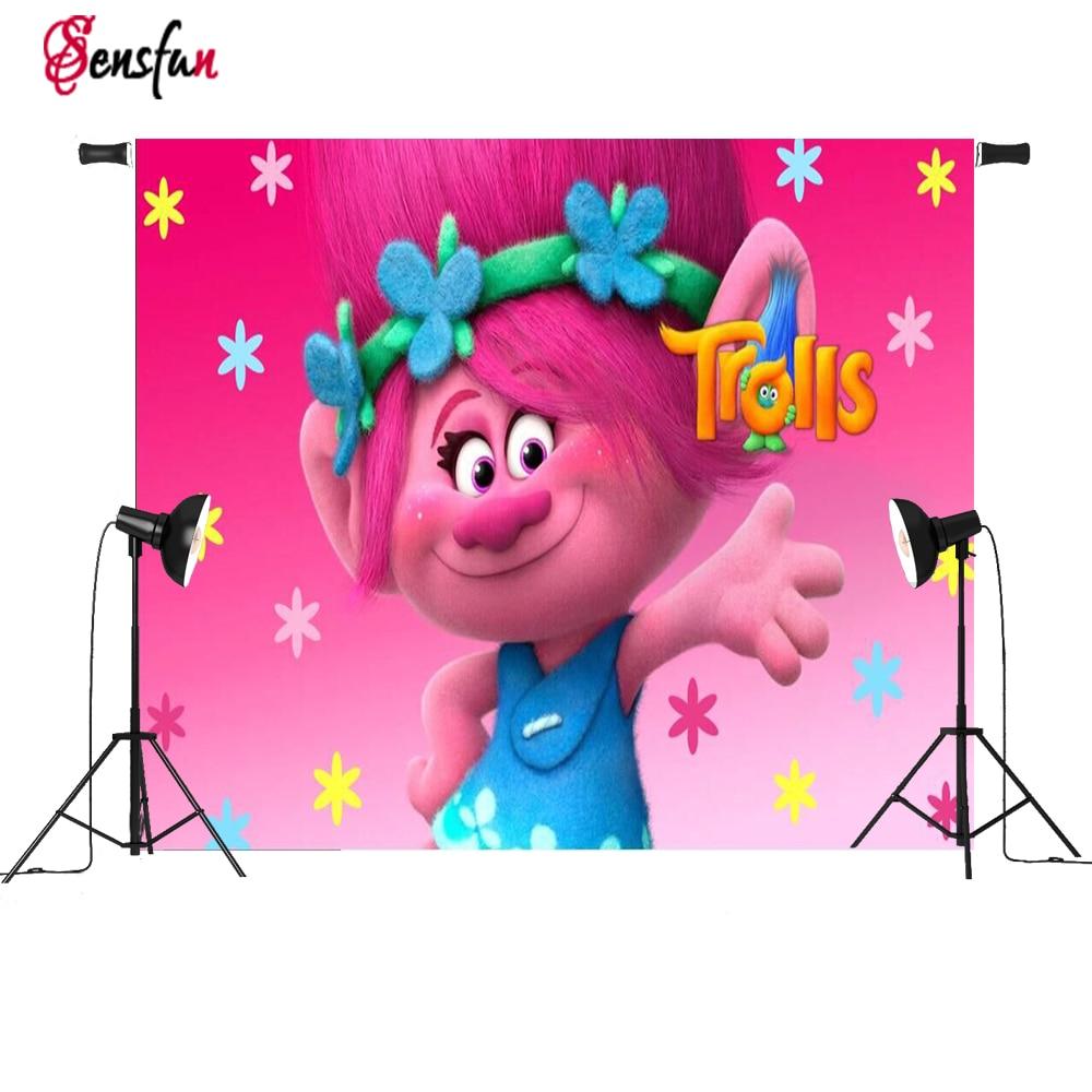 Vinil Photocall Trolls Rosa Papoula Flores Princesa Sob Encomenda Da Foto Estúdio Fundos Backdrops 5x3ft