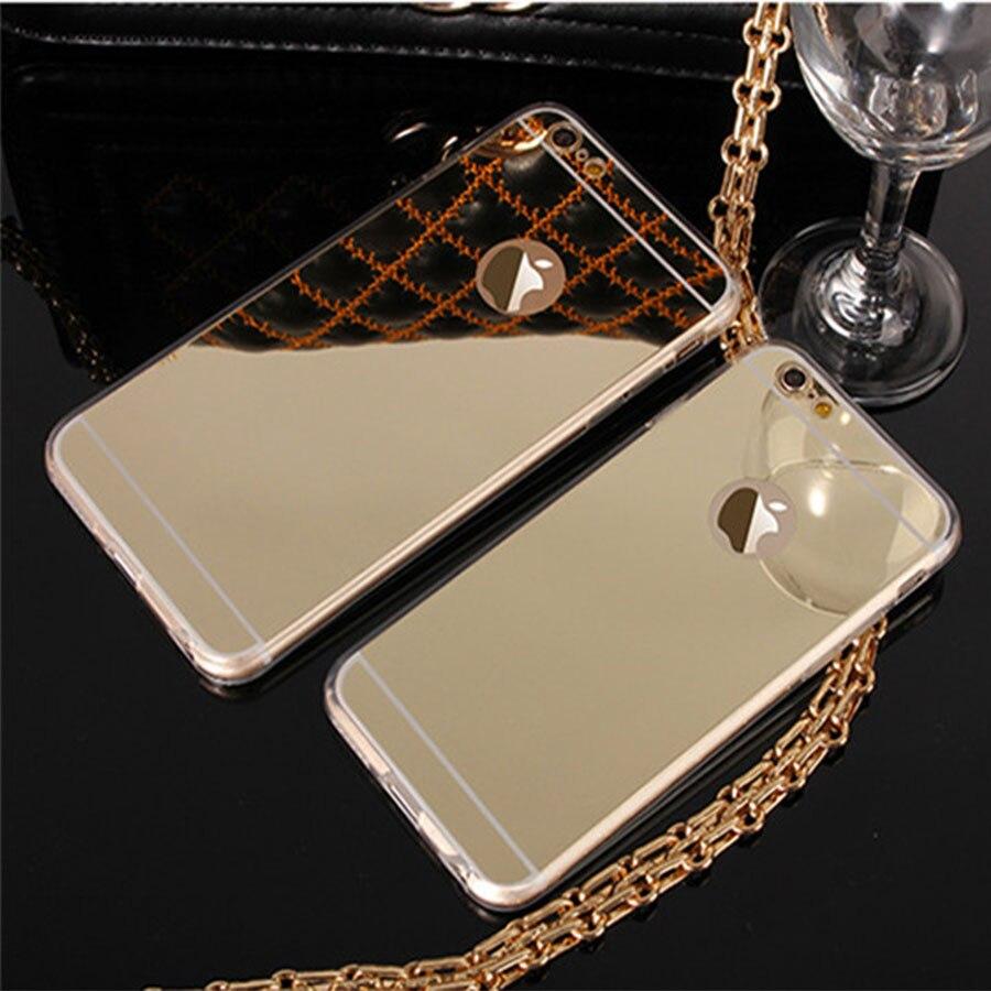 Funda de espejo dorado ultradelgada SE para iPhone 5S, 6, 6 S, 7 Plus, carcasa trasera protectora de silicona de TPU suave para iPhone 5 4S SE