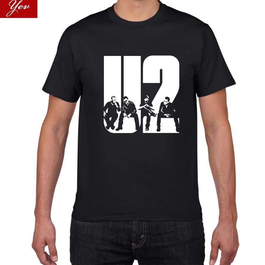 103 2018 Новинка U2 дизайнерская Летняя мужская футболка с коротким рукавом Повседневная хлопковая Футболка модная мужская приталенная футбол...