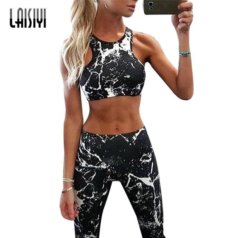 Laisiyi 2019 ginásio mulher esportiva 2019 impresso fitness terno feminino camuflagem roupa de treino para as mulheres sutiã esportivo leggings kits