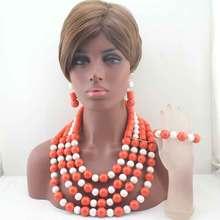 Luxury Long nigerian Wedding african Coral Beads Jewelry Set Brides Bib Beaded Statement Necklace Set W13596