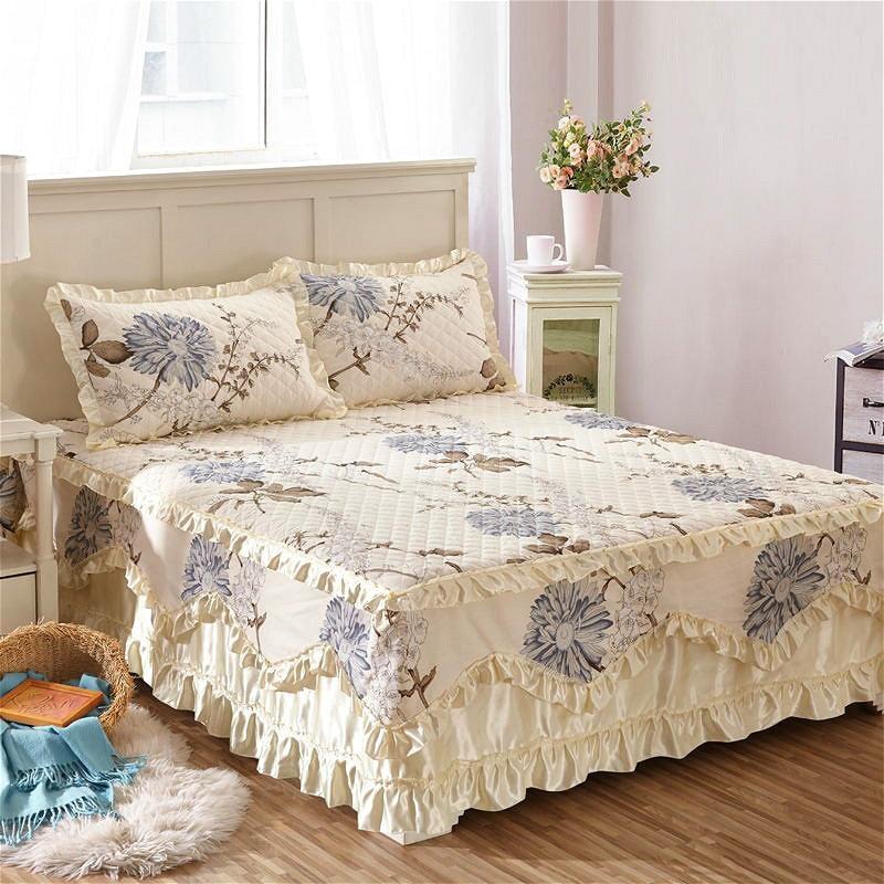 Famvotar fantasia algodão acolchoado rendas bedskirt 23 estilos floral babados cama saia pastoral algodão acolchoado renda colcha navio da gota