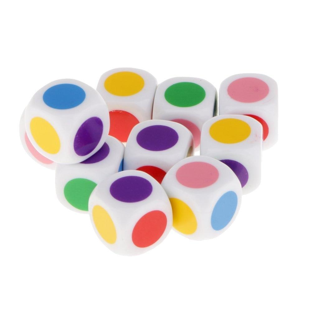 Dsgs conjunto de 10 pces dados para jogar com 6 cores para jogos de tabuleiro crianças jogos de mesa brinquedos educativos
