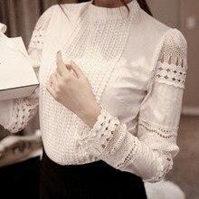 Moda elegante camisa feminina crochê magro topos sólido bordado manga longa formal blusa branca