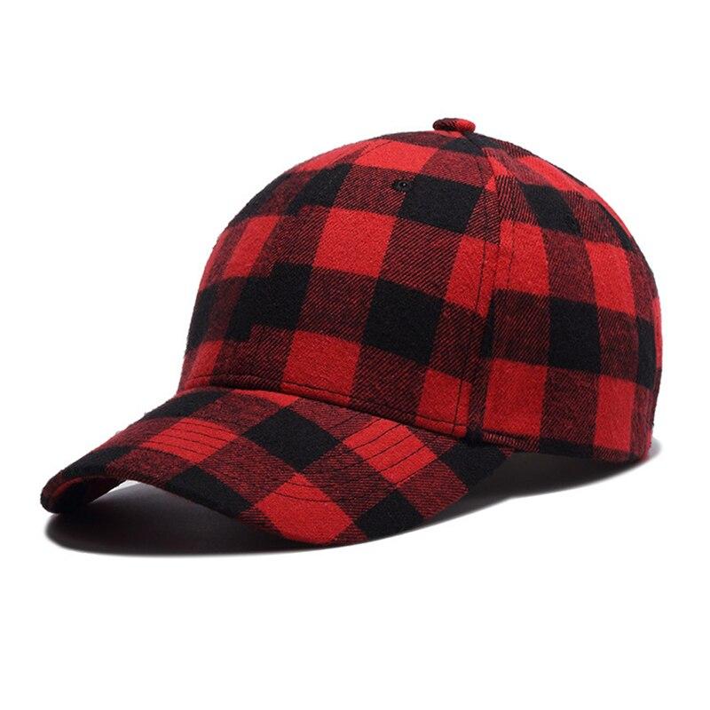 Красная Клетчатая Мужская Бейсболка унисекс, кепка с костями, мужская хлопковая шляпа шлем для папы, Повседневная Женская Бейсболка