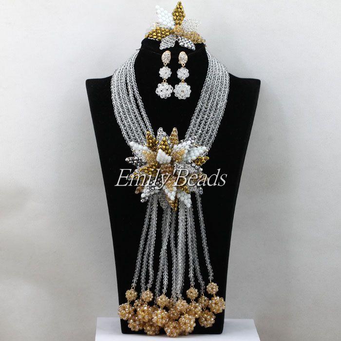 2016 último conjunto de joyas de cuentas africanas de boda nigerianas blanco claro indio collar de novia conjunto de gota larga envío gratis AIJ879