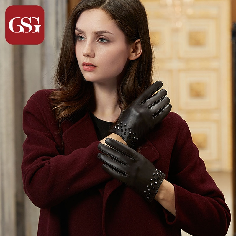 GSG Women Leather Gloves Mittens Fashion Winter Warm Touchscreen Driving Gloves Ladies Lined Buckles Rivets Golves for Party gsg women winter leather gloves mittens knitted lined driving gloves handmade warm ladies fashion touch screen gloves black