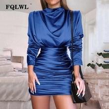 FQLWL Satin plissé femmes robe de soirée à manches longues noir froncé moulante Mini robe hiver dames envelopper courtes robes Sexy Vestidos