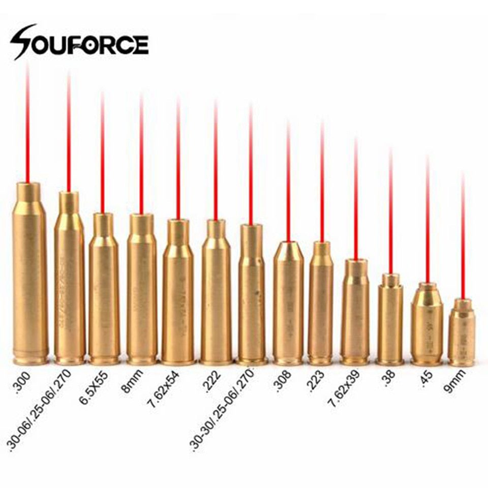 US Red Dot Laser Brass Copper Boresight CAL Cartridge Bore Sighter for Scope Hunting Adjustment