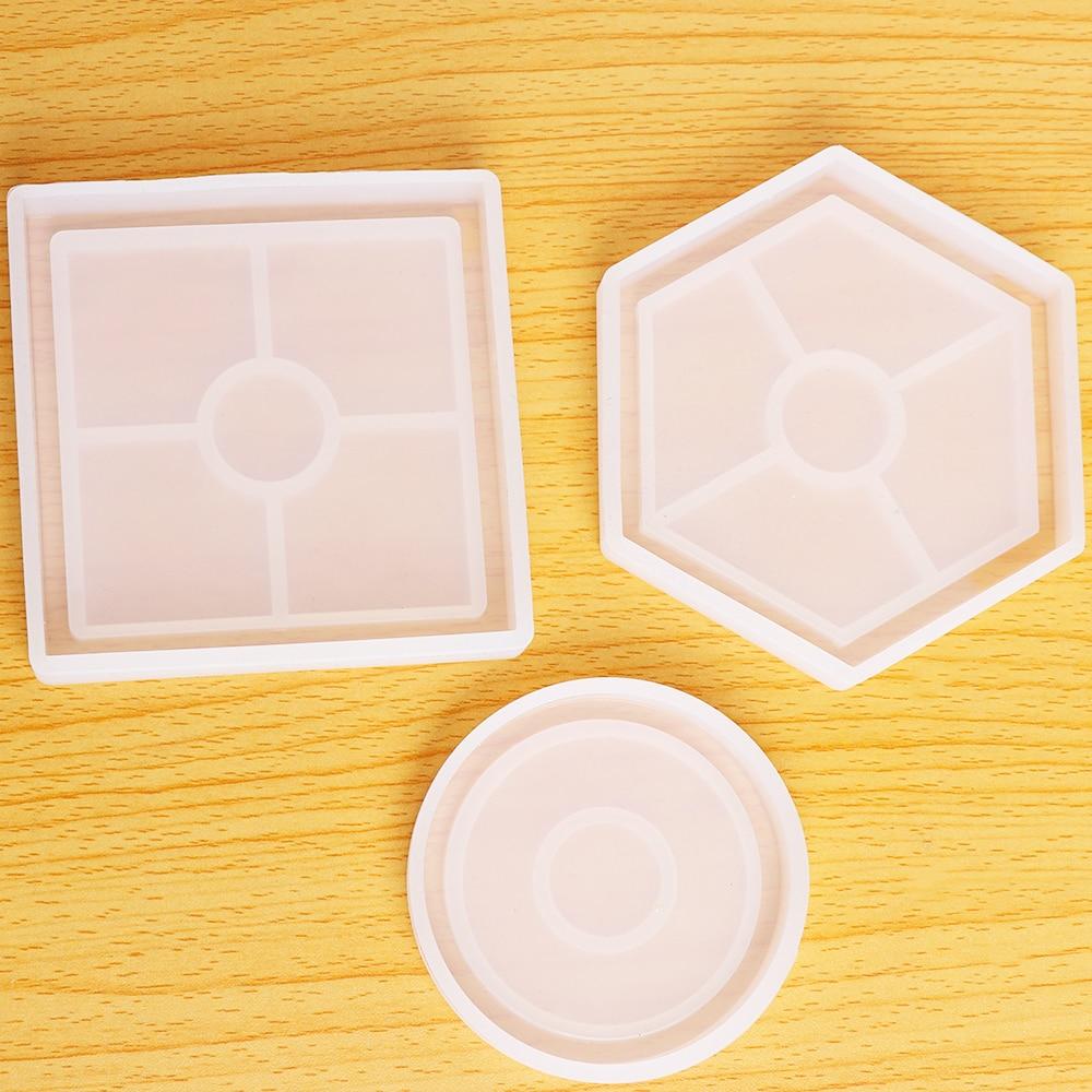 Molde de silicona joya DIY, alfombrilla para tazas, moldes hechos a mano, artesanías, resina epoxi, forma geométrica, Cuadrado Hexagonal, aislamiento térmico redondo