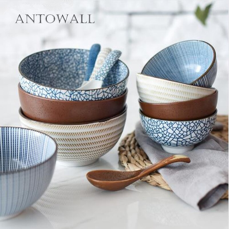 Японская классическая керамическая посуда, кухонный суп, лапша, рис, миска, 6 дюймов, 8 дюймов, большая тарелка, ложка и чашка для чая