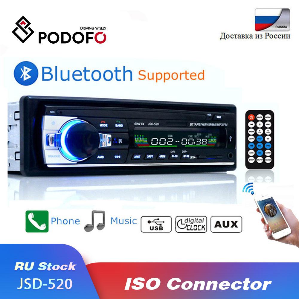 Podofo bluetooth autoradio rádio estéreo do carro fm aux entrada receptor sd usb JSD-520 12 v in-dash 1 din carro mp3 usb multimídia player