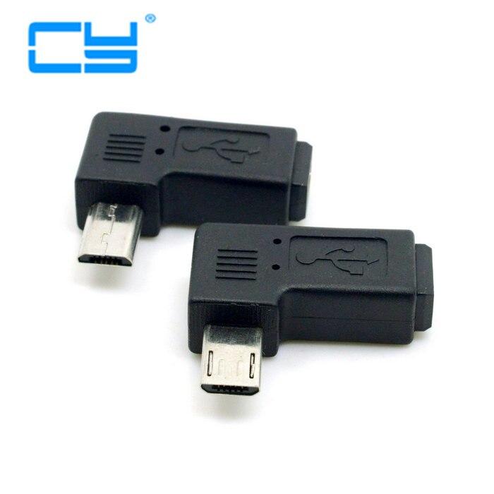 2 pces 9mm longo conector 90 graus esquerda & direita angular micro usb 5pin macho para mini usb adaptador de extensão fêmea adaptador conector