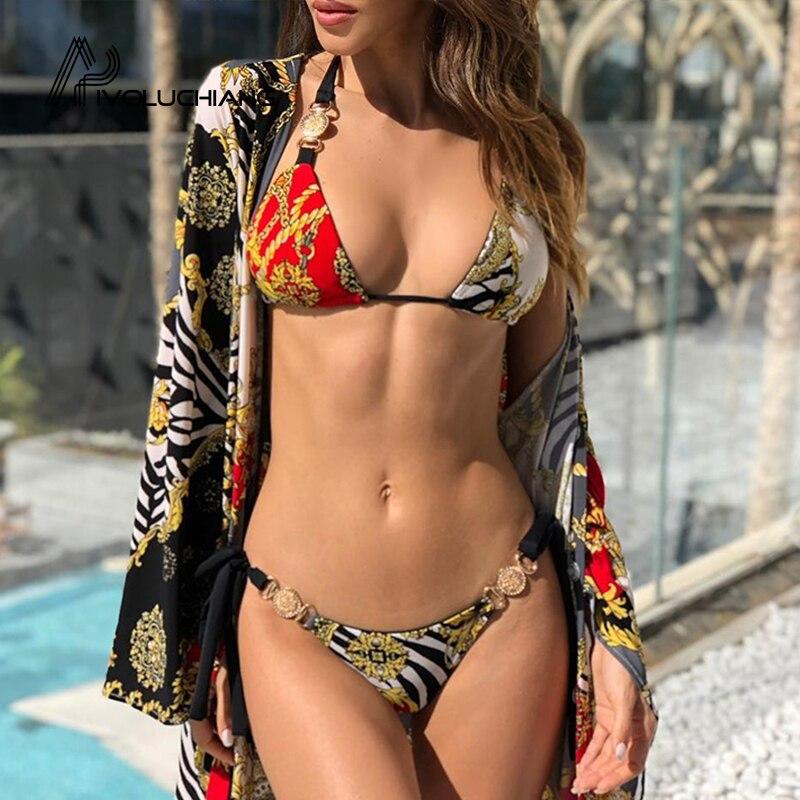 Estampado de diamante sexy traje de baño 2019 ropa de playa halter push up mujeres sexy vendaje traje de baño swiming metal decorar traje de baño 2019