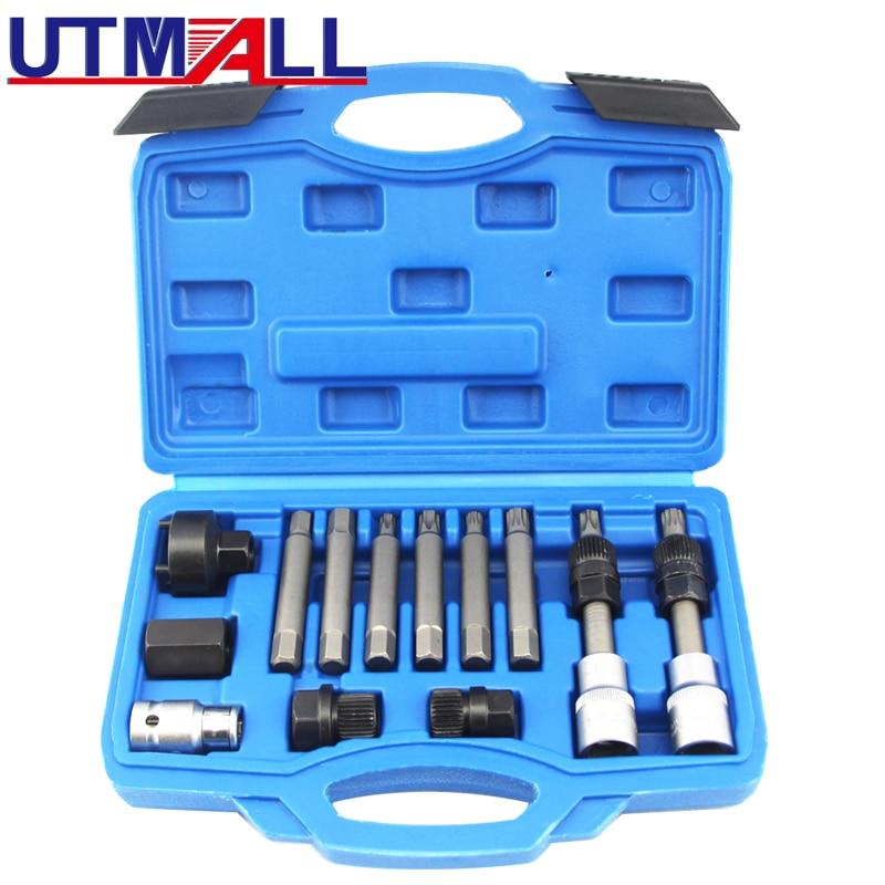 13pcs Alternator Freewheel Pulley Puller Removal Engine Auto Tool Set NEW engine diesel injector puller set removal garage tool for vag tdi vw audi