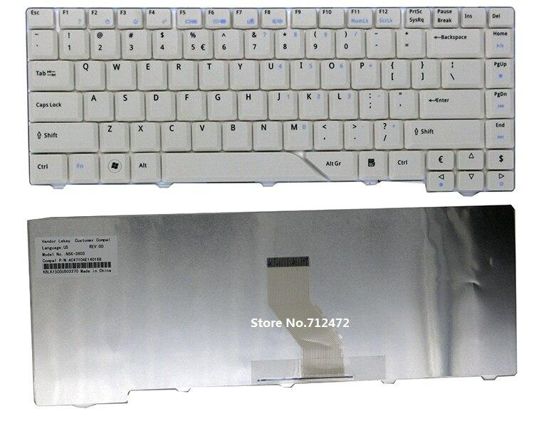 SSEA-teclado blanco nuevo para Acer Aspire 5310, 5310G, 5315, 5320, 5510, 5520,...