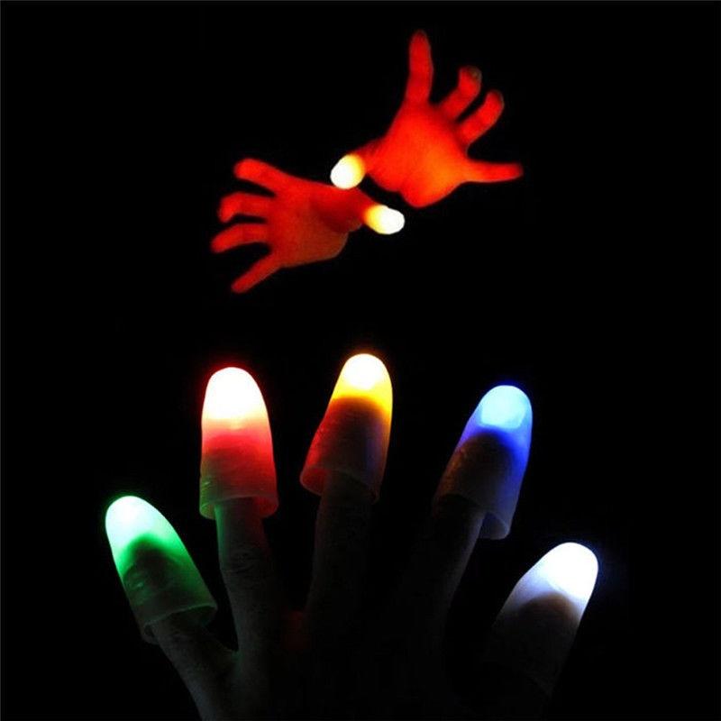 2 uds. Juguetes luminosos Led con pulgares parpadeantes para niños, trucos de magia callejeros iluminados con dedos, accesorios mágicos para niños, juegos familiares para adultos, regalo