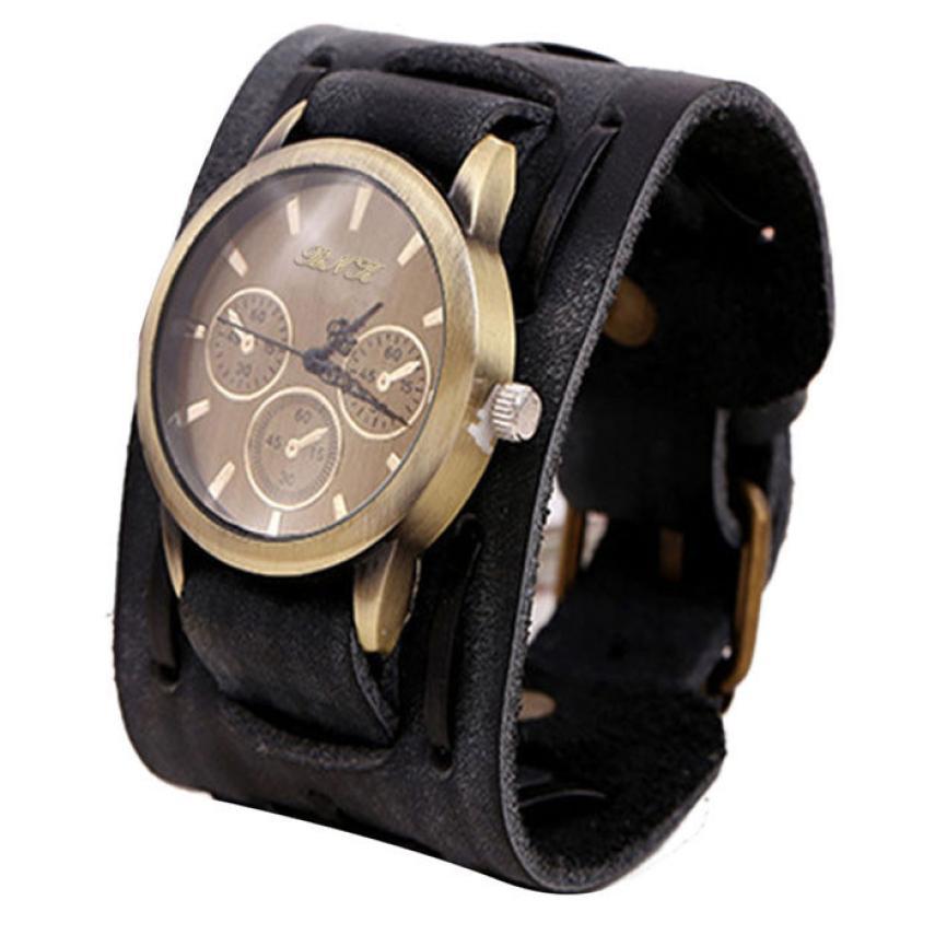 Novo estilo retro punk rock marrom grande ampla pulseira de couro manguito relógio masculino legal quartzo relógios pulseiras dropshipping l0801