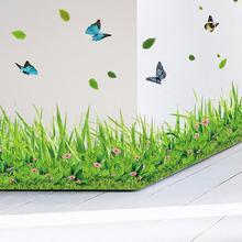 Criativo Hot Green Grass Borboleta Flores Rodapé PVC Adesivo de Parede Sala de Home Decalque Decoração Set