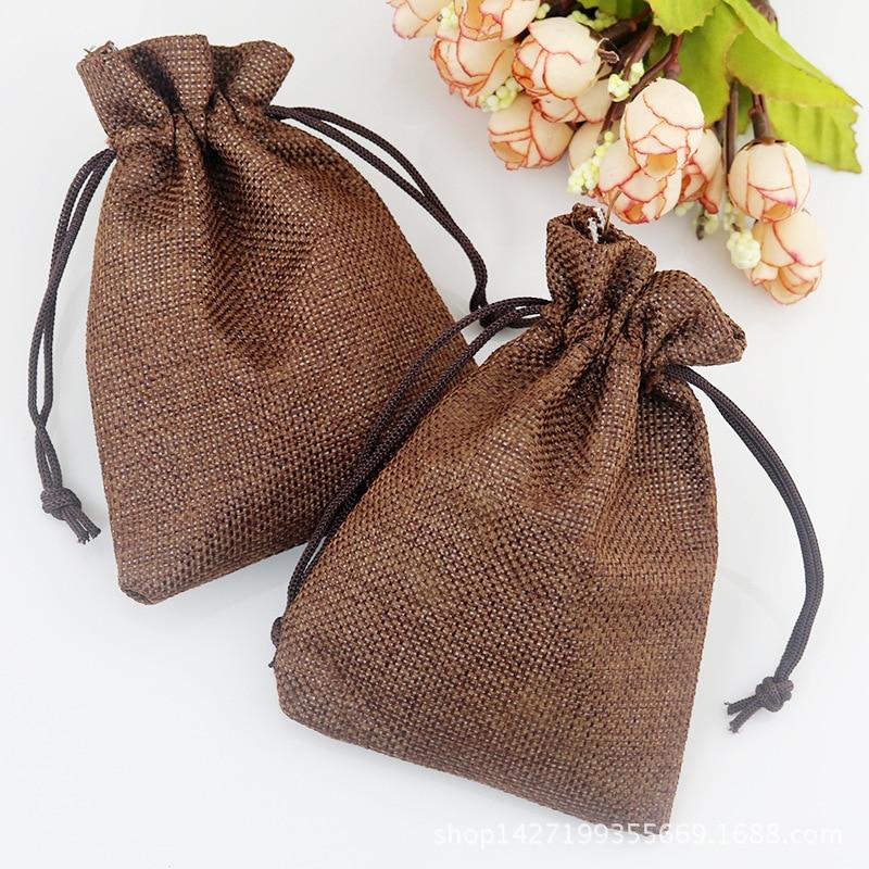 Bolsas de yute color café, bolsa de regalo de 7x9 cm, almacenamiento en sobres de boda, bolsa con cordón, accesorios de joyería, bolsas de lino para embalaje (100 Uds.