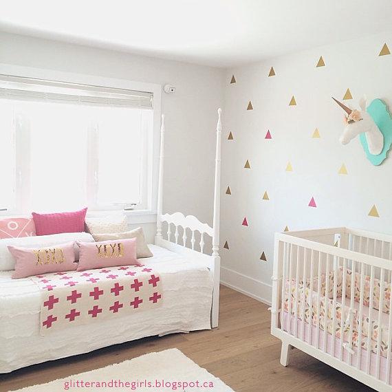 100 pçs ouro triângulos forma berçário parede vara para crianças decoração para casa, m2s1