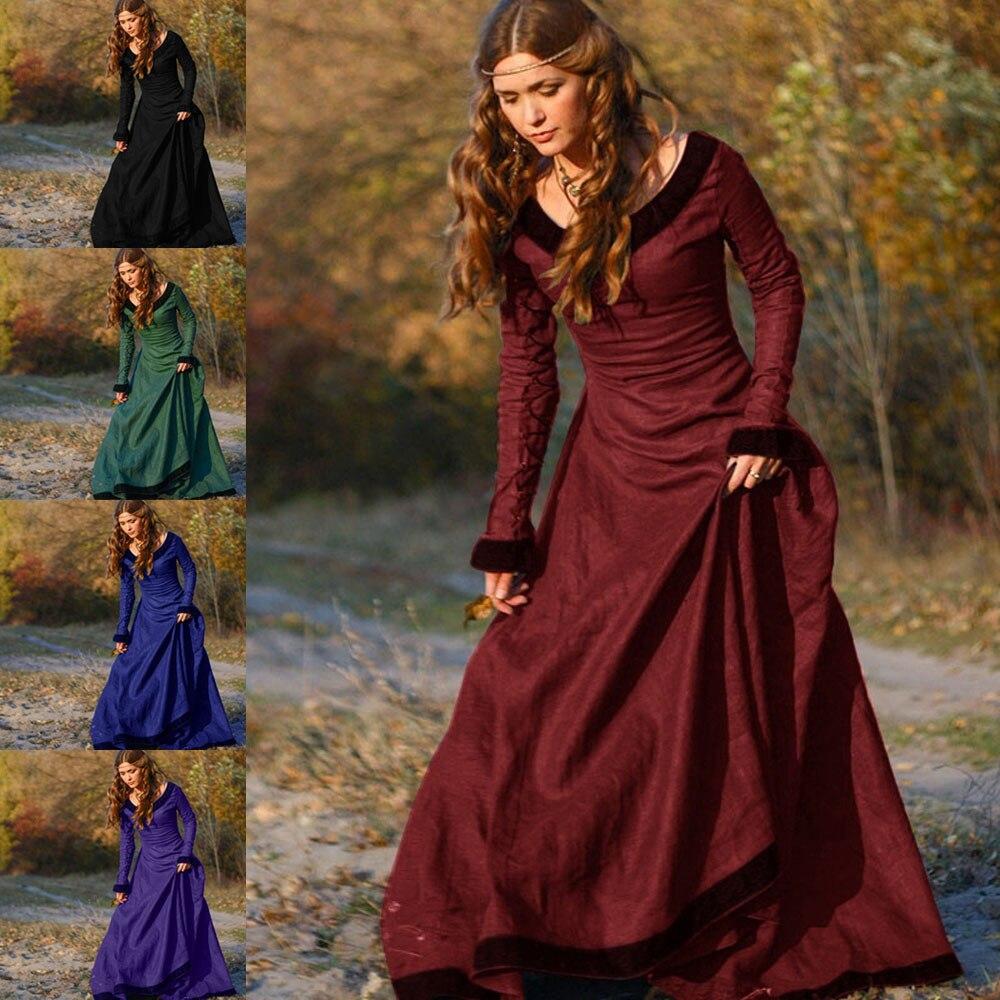 Vestido Medieval Vintage para mujer, disfraz de Cosplay de princesa renacentista, vestido gótico para chica, vestido largo hasta el suelo de invierno