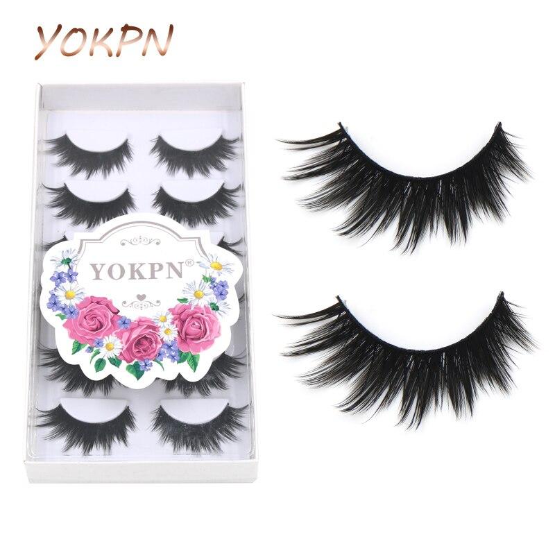 6 pares de pestañas postizas gruesas de alta calidad de fibra Natural pestañas negras Terrier pestañas maquillaje de moda pestañas maquillaje