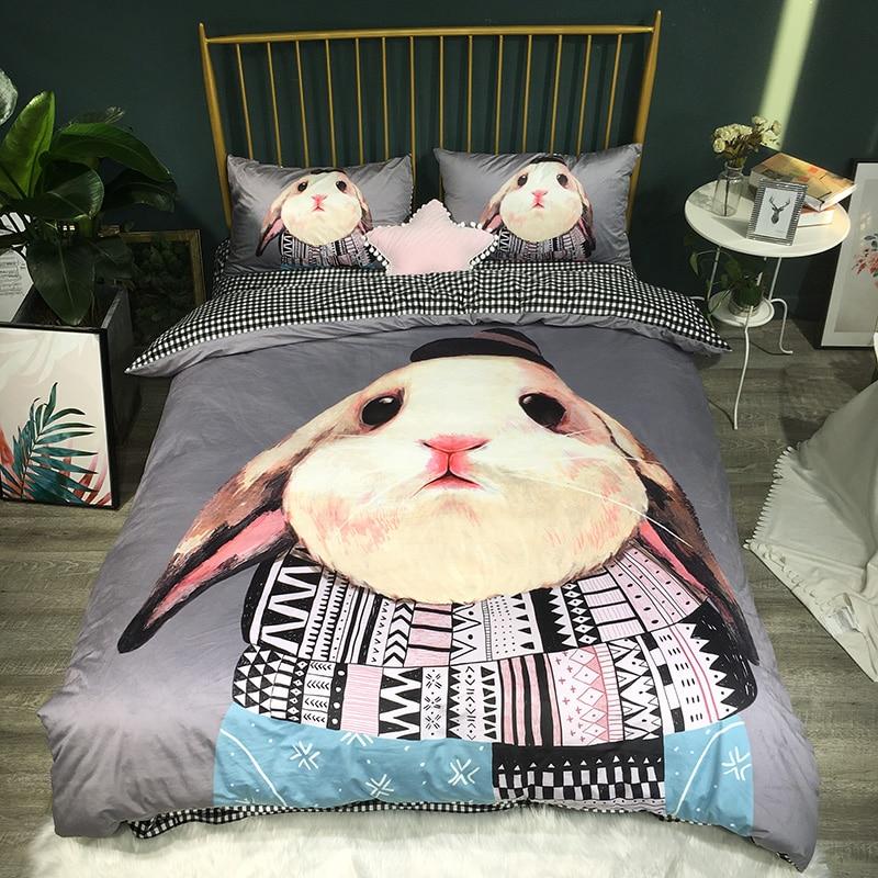 Dibujos Animados 3D impresión conejo Panda Corgi invierno franela ropa de cama para niños Juego de cama de tela de lana funda de edredón sábana/Fundas de almohada de lino