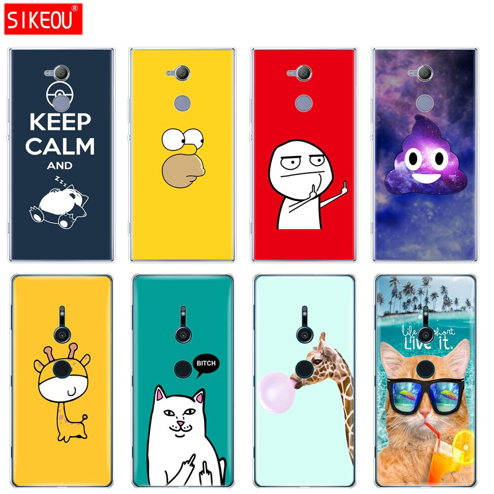 silicone Cover phone Case for sony xperia XA1 XA2 ULTRA PLUS L1 L2 XZ1 XZ2 compact XZ PREMIUM funny cute fashion design