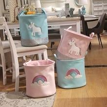 INS Cute Unicorn Rainbow Pattern Canvas Thick Laundry Basket Bag Large Folding Dirty Clothes Sundries Toy Storage Basket Barrel