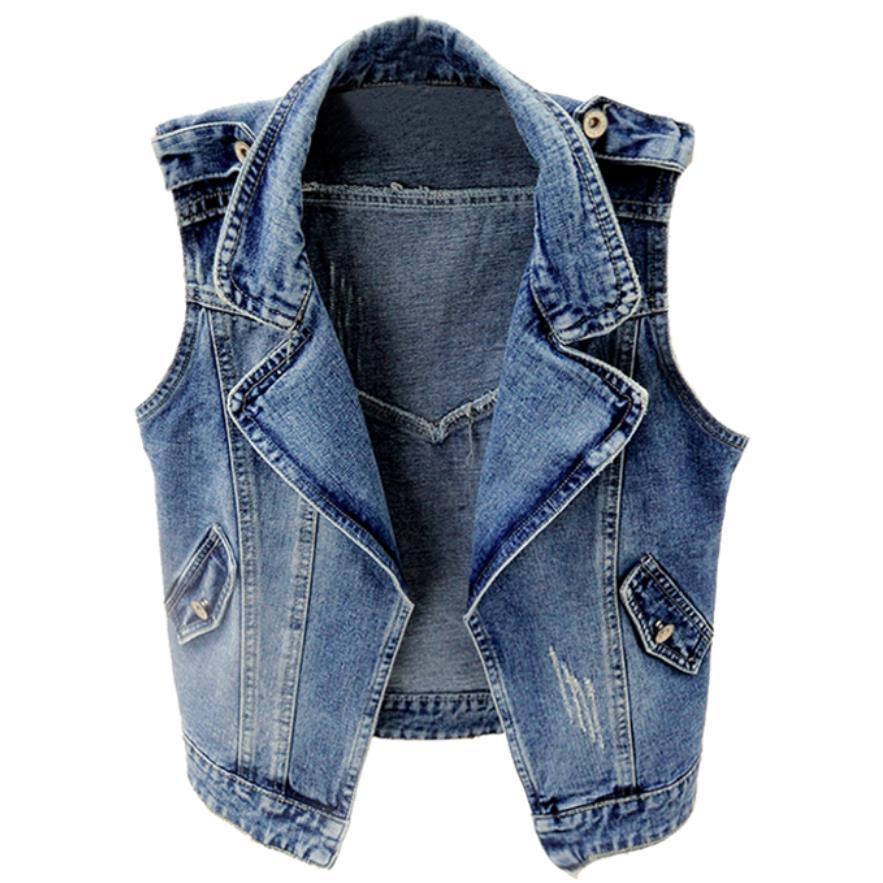 2020 primavera moda Otoño chaleco vaquero sin mangas mujeres corto ajustado jeans tops abrigo de talla grande 3XL