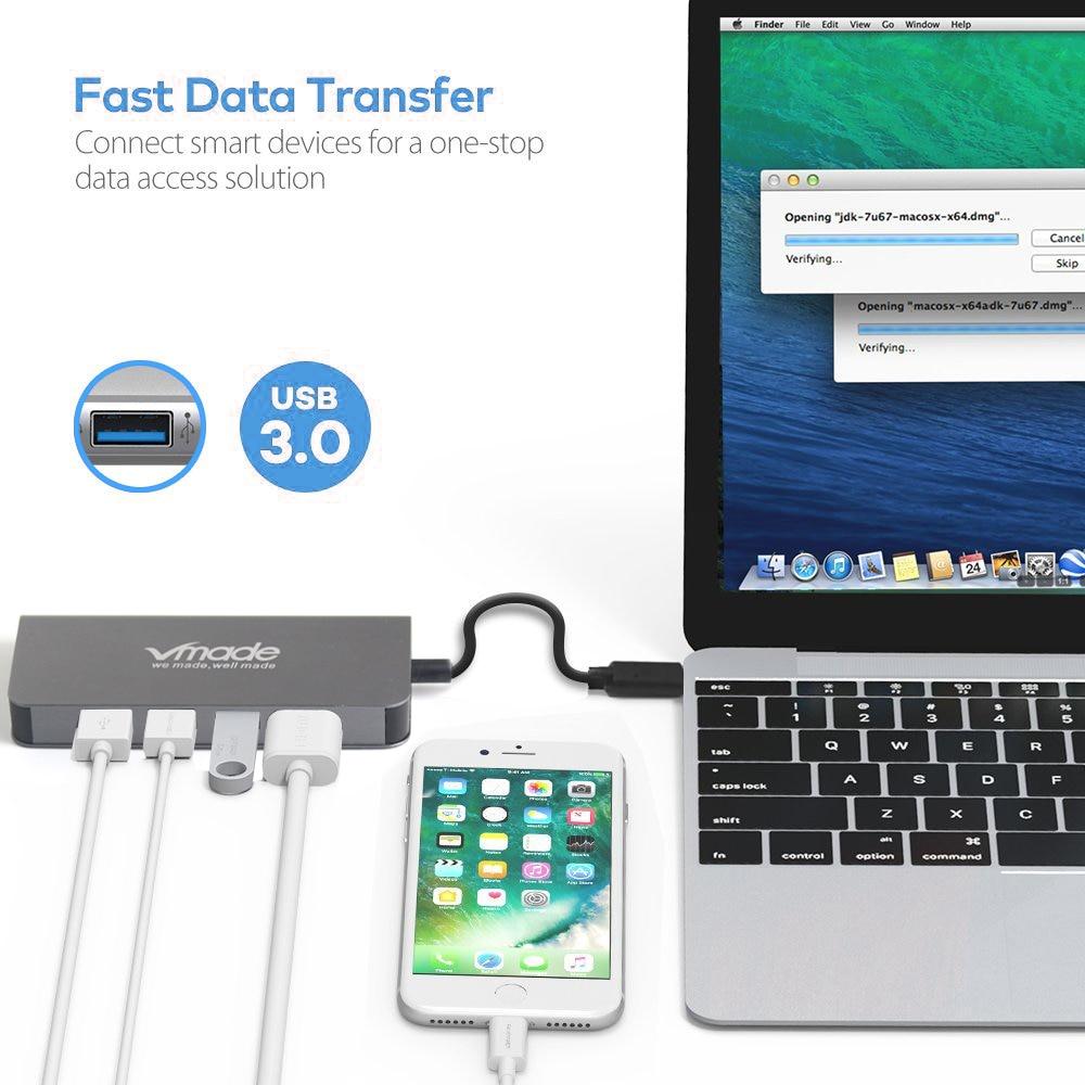 Vmade 8-in-1 Moble telefon Adapter 8 in 1 USB C Typ C SD/TF Karte reader Adapter Für Huawei Samsung Handy OTG Adapter
