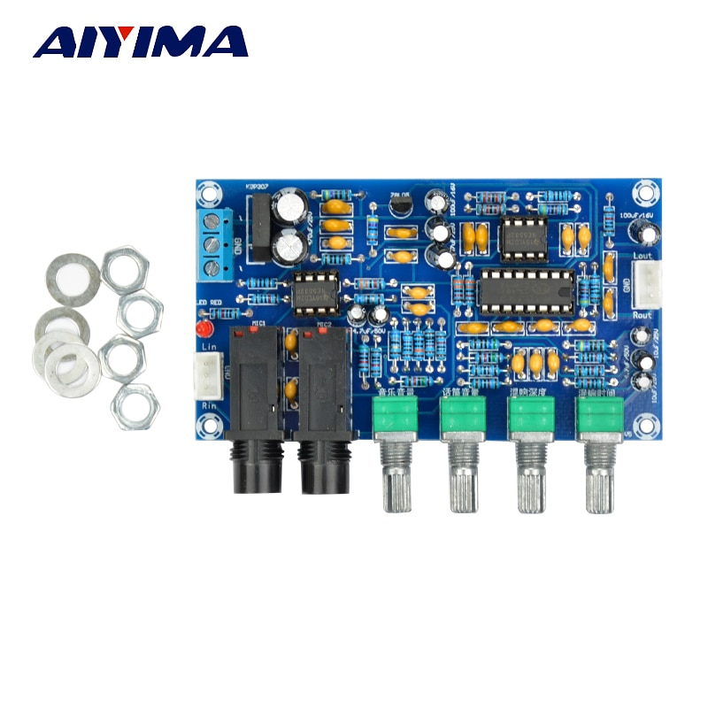 Aiyima pt2399 placa amplificador de microfone digital karaoke placa reverberation karaoke ok módulo amplificador dupla ac12v