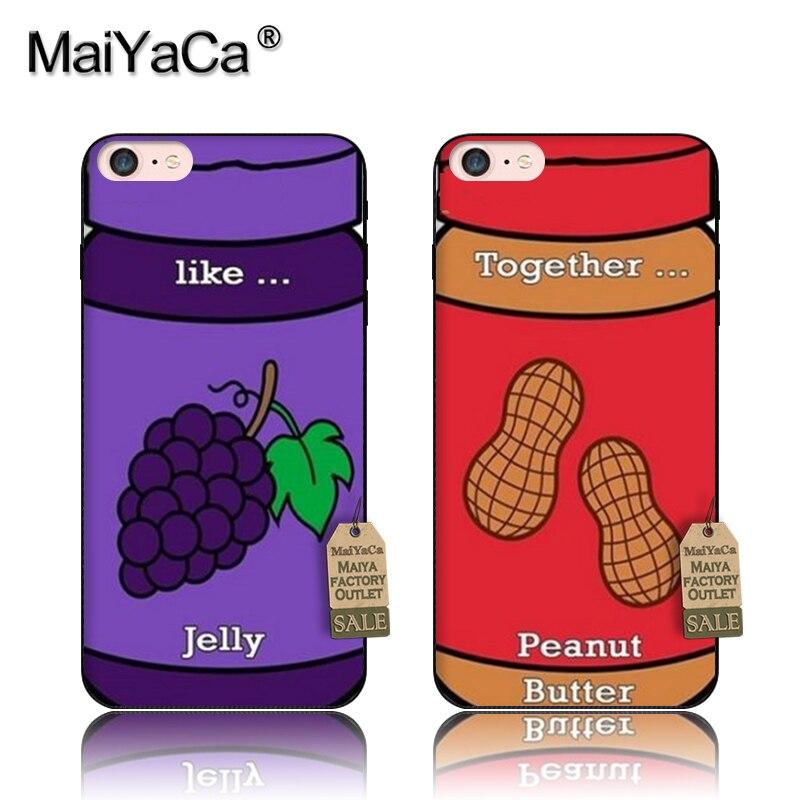 MaiYaCa, carcasa negra de silicona tpu para teléfono móvil, como Bestfriends, jelly peanut, para iPhone 5s, 6s, 6s plus, 7, 7plus, 8, 8plus, x