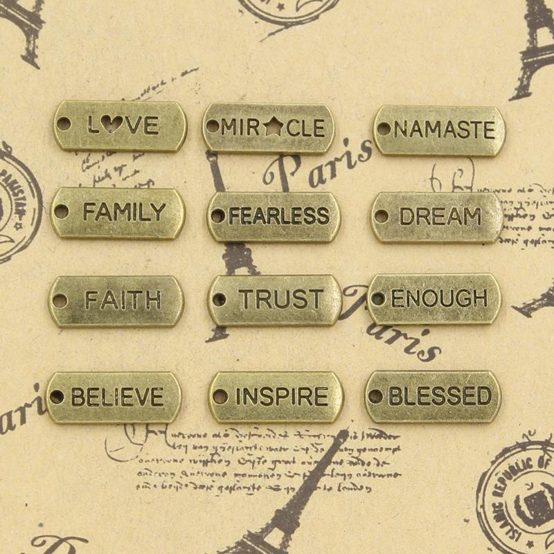 20 piezas de dijes amor cree confianza familia de ensueño fe cree Imspire sin miedo 21x8mm DIY joyería colgante de bronce antiguo