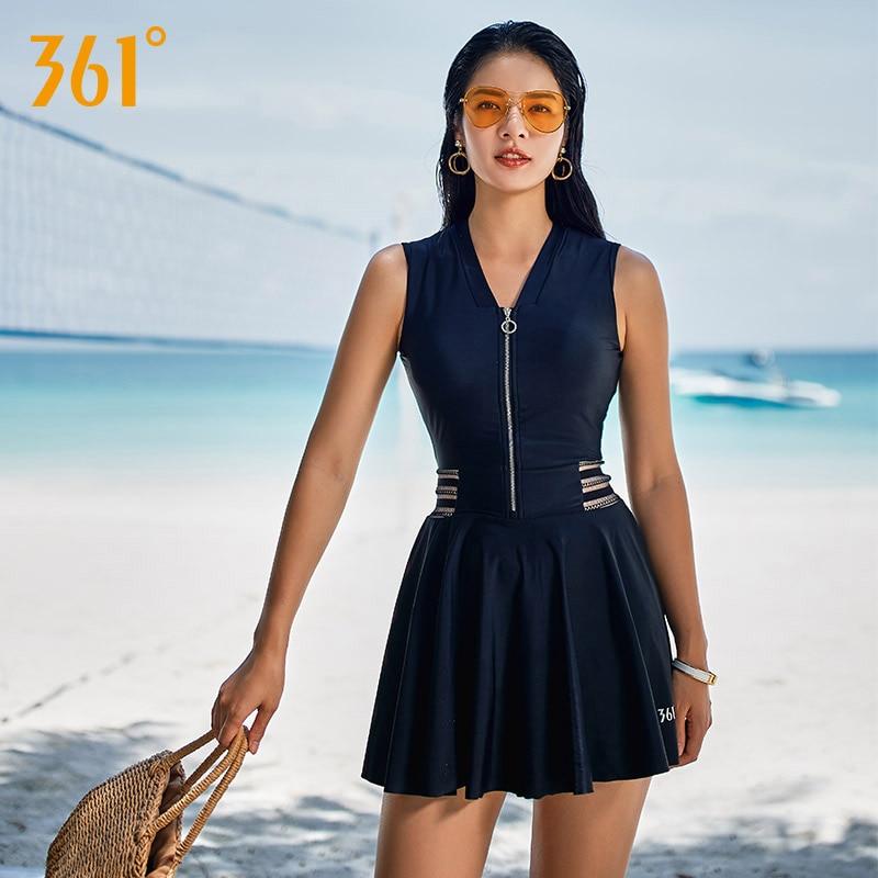 361 traje de baño una pieza 2018 mujeres de talla grande conservador baño falda mujeres falda vestido de traje de baño de la cremallera bañista