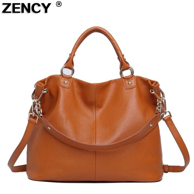 ZENCY 100% جلد طبيعي المرأة حقيبة كتف مصمم التسوق أكياس رداء علوي غير رسمي مقبض يد السيدات رسول حقيبة الترفيه