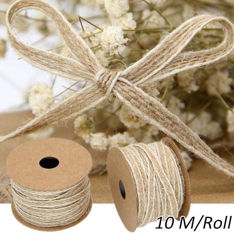 10M/Roll Width 0.5cm Jute Burlap Rolls Hessian Flax Ribbon Lace Vintage Rustic Wedding Decoration Ornament Party Festival Decor