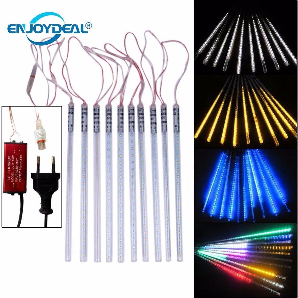 10 Uds. 30cm 360 LED impermeable lluvia de meteoros tubo LED caída cuerda luces 2835 SMD iluminación exterior jardín luces de Navidad