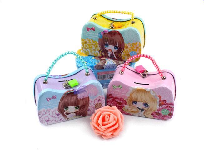 Caja de ahorro de dinero de cerdo para niños, caja de hojalata clásica para niñas encantadoras, monedas, hucha de Color aleatorio ELG 002 1 unidad