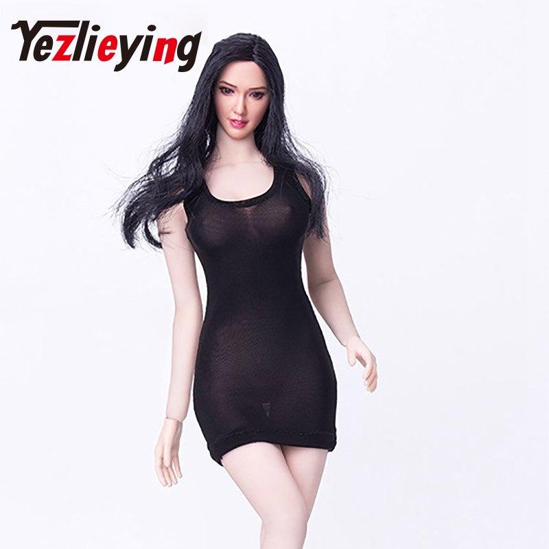 "Sexy black transparent 1/6 ratio dress mini skirt dress high heels shoes set 12""female action figure doll clothing clothes"
