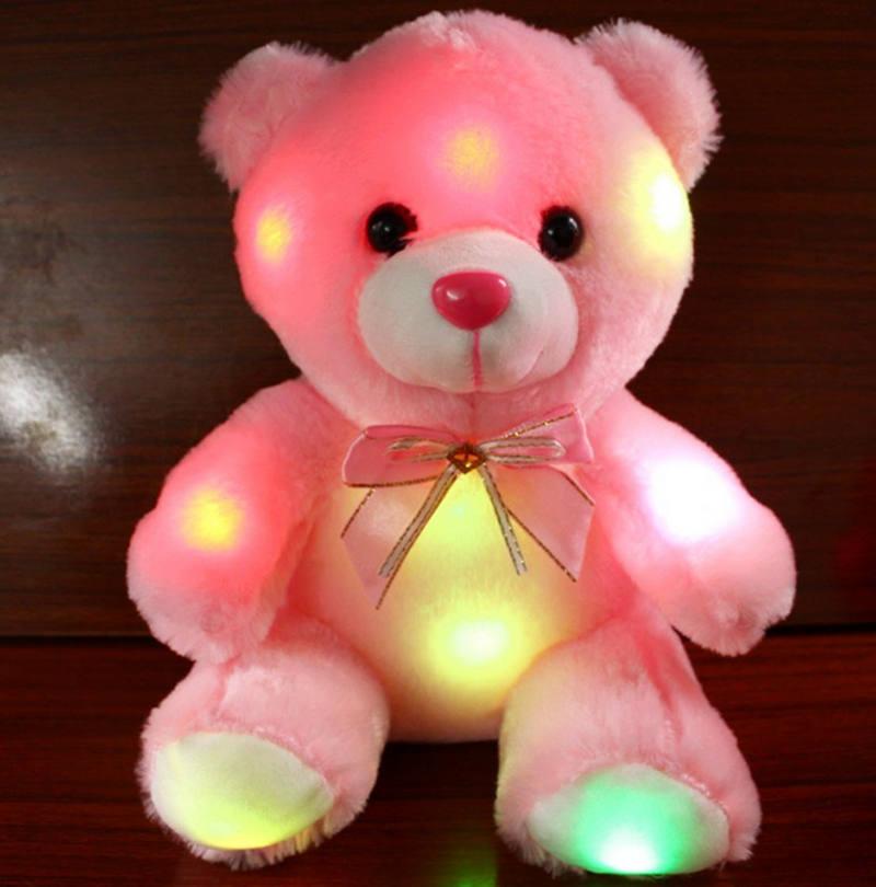 Animais de pelúcia urso led flash luz de pelúcia luminosa bonito urso panda boneca brinquedo de pelúcia presente do miúdo