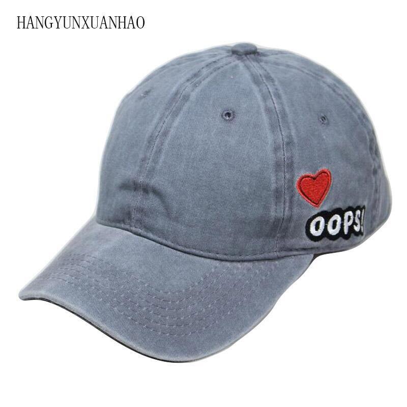 2018 Baseball Cap Women Dad Hat Men Rapper Hip Hop Summer Washed Denim Caps Casual Cotton OOPS Heart Unisex Hats Bone Gorras