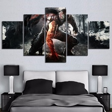 5 Piece HD Ninja Picture Print RYU HAYABUSA Ninja Gaiden Video Game Poster Wall Sticker Canvas Paintings Wall Art Paintings