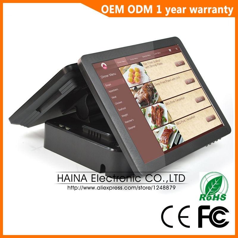 Haina сенсорный 15 дюймов двойной экран сенсорный экран NFC pos-терминал двойной экран