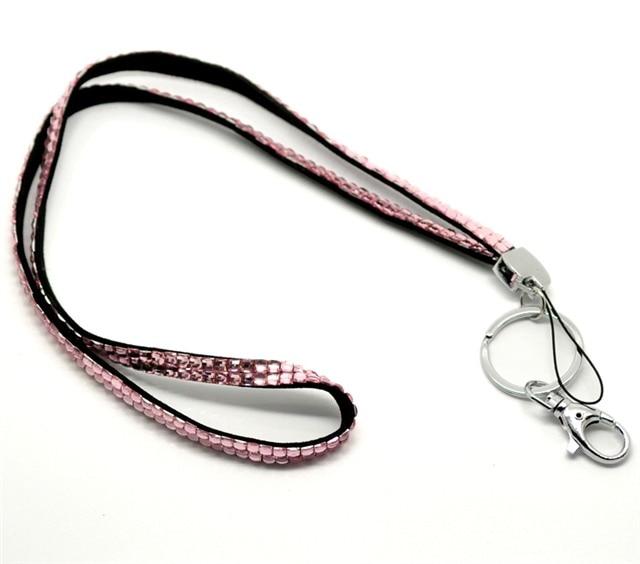 1 Uds Rosa color brillante cristal ostentoso Tarjeta de Identificación titular de la clave cordón Correa diferentes colores envío gratis