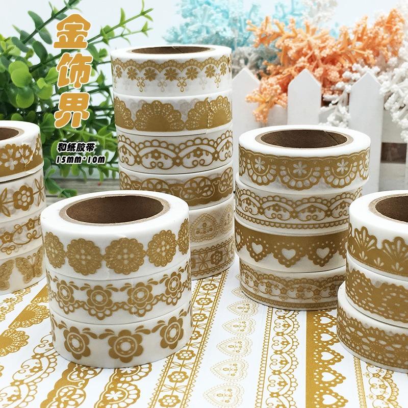 (5 unids/lote/) 15MM * 10M oro Washi cinta lindo DIY Scrapbooking etiqueta engomada cinta adhesiva