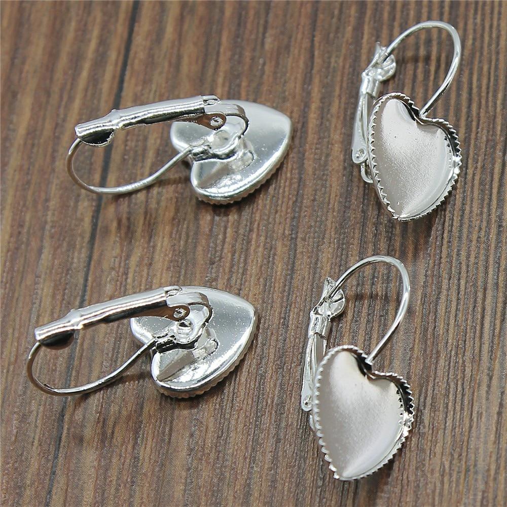 10 pçs/lote 5 cores caber 12mm coração de vidro cabochão material cobre borda sawtooth francês alavanca volta brincos base descobertas