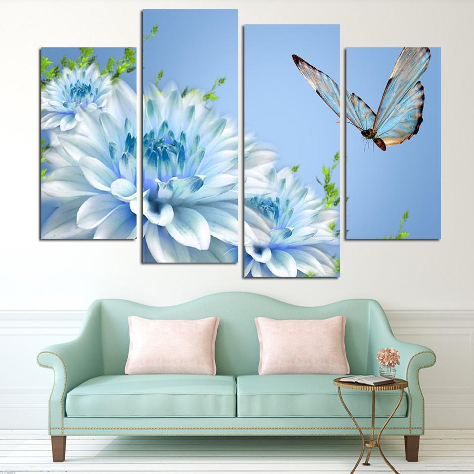 4 Panels blue chrysanthemum Blume Große HD Bild Leinwand Kunstwerk Ölgemälde Moderne Dekoration Wand wohnzimmer