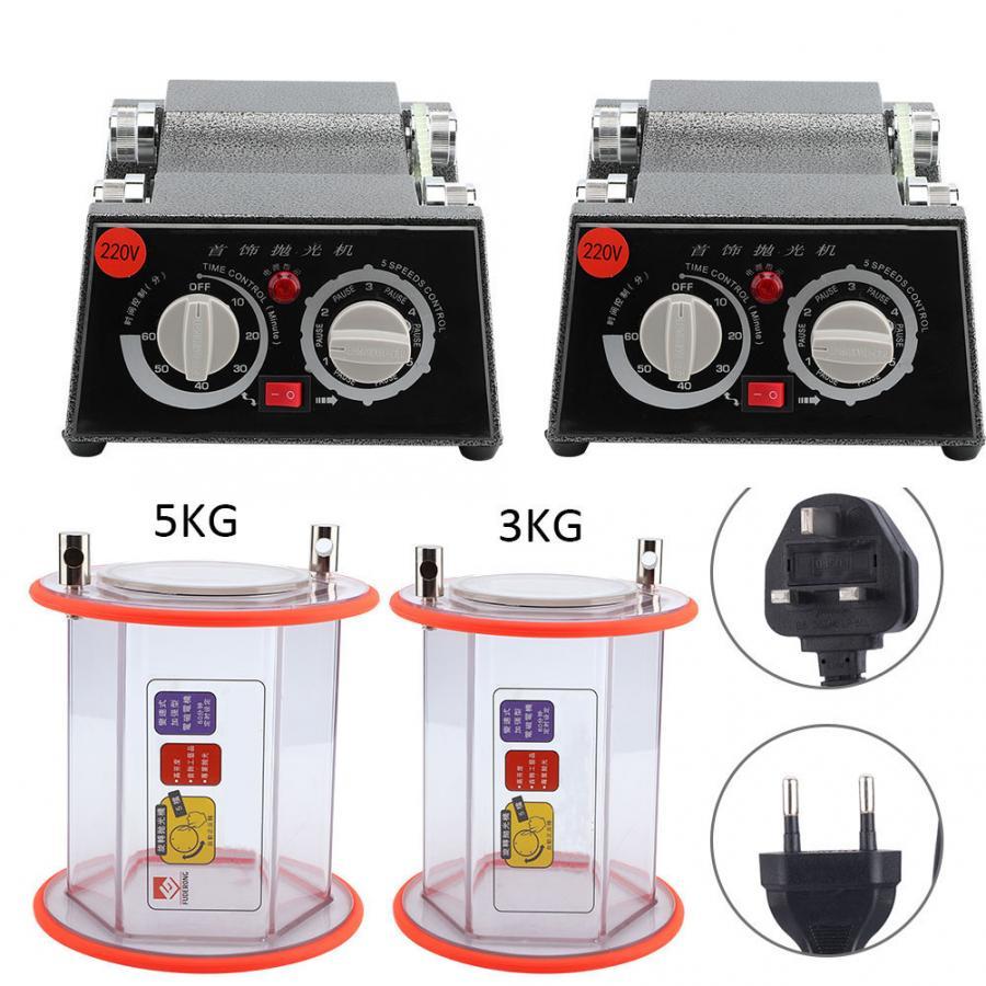 Rotary Tumbler Jewelry Polisher Machine Polishing Cleaner 220V High Quality EU Plug UK Plug Jewelry Tool For Jeweler Making